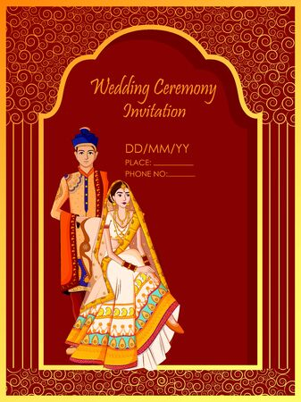 Indian Bride and Groom in ethnic dress Lengha and Serwani for wedding Day. Vector illustration