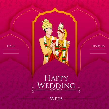Indiase bruid en bruidegom in etnische jurk Lengha en Serwani voor trouwdag. vector illustratie