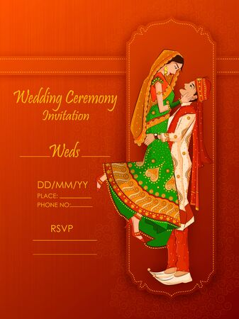 Indian Bride and Groom in ethnic dress Lengha and Serwani for wedding Day. Vector illustration 矢量图像
