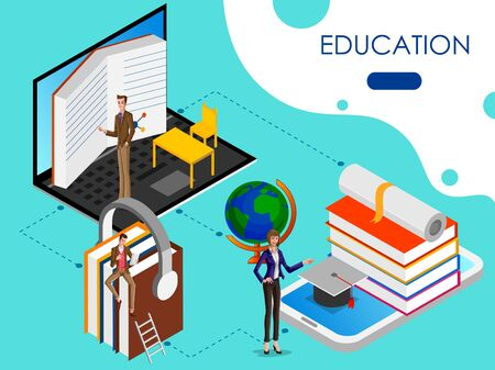Isometric concept of Educational system with online education elearning process. Vector illustration
