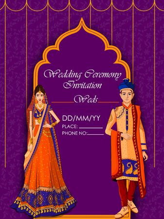 Indian Bride and Groom in ethnic dress Lengha and Serwani for wedding Day. Vector illustration Stock Illustratie