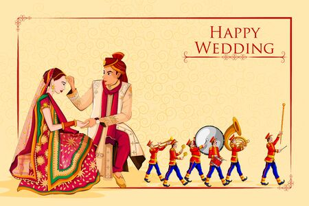 Indian Bride and Groom in ethnic dress Lengha and Serwani for wedding Day with Marching Music Brass Band. Vector illustration