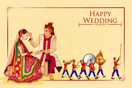 Indische Braut und Bräutigam im ethnischen Kleid Lengha und Serwani zum Hochzeitstag mit Marching Music Brass Band. Vektor-Illustration