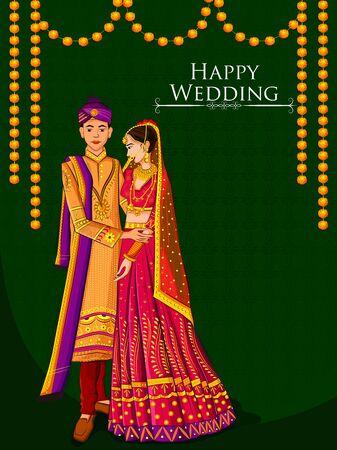 결혼식 날 민족 드레스 Lengha와 Serwani에 인도 신부와 신랑. 벡터 일러스트 레이 션