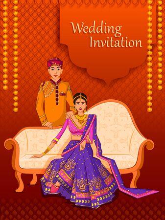 Indische Braut und Bräutigam im ethnischen Kleid Lengha und Serwani zum Hochzeitstag. Vektor-Illustration