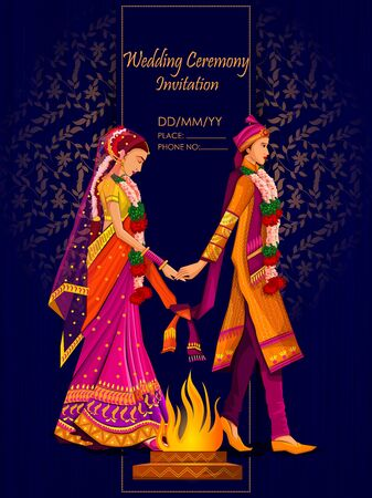 Indian Bride and Groom in ethnic dress Lengha and Serwani for wedding Day. Vector illustration  イラスト・ベクター素材