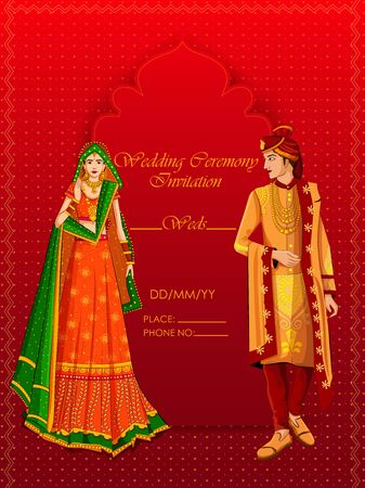 Indian Bride and Groom in ethnic dress Lengha and Serwani for wedding Day. Vector illustration Ilustração