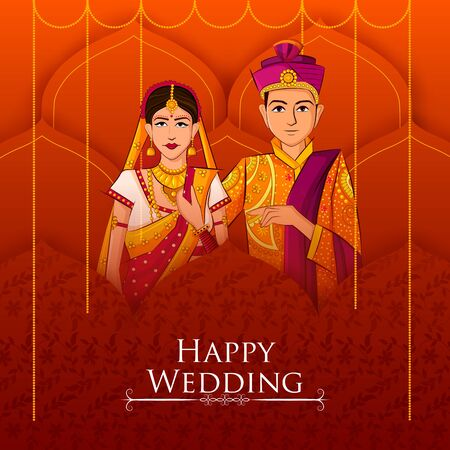 Indian Bride and Groom in ethnic dress Lengha and Serwani for wedding Day. Vector illustration 스톡 콘텐츠 - 128636664