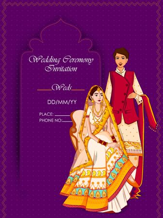 Indian Bride and Groom in ethnic dress Lengha and Serwani for wedding Day. Vector illustration 일러스트