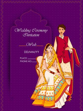 Sposi indiani in abito etnico Lengha e Serwani per il giorno del matrimonio. Illustrazione vettoriale Vettoriali