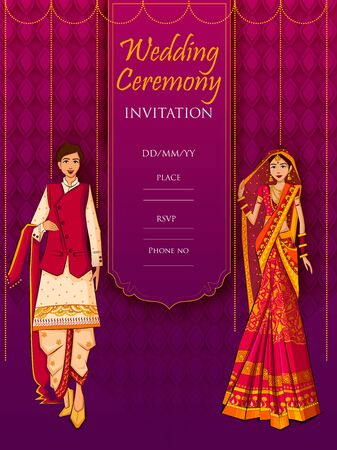 Indian Bride and Groom in ethnic dress Lengha and Serwani for wedding Day. Vector illustration Illusztráció