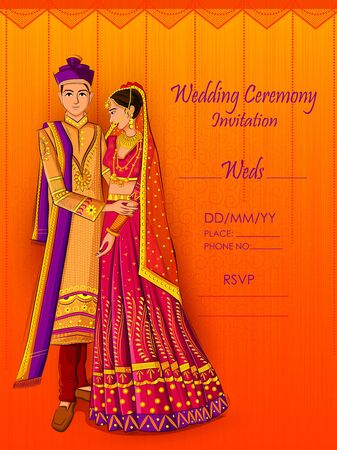 Indian Bride and Groom in ethnic dress Lengha and Serwani for wedding Day. Vector illustration Ilustrace