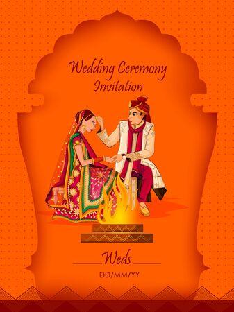 Los novios indios en traje étnico Lengha y Serwani para el día de la boda. Ilustración vectorial Ilustración de vector