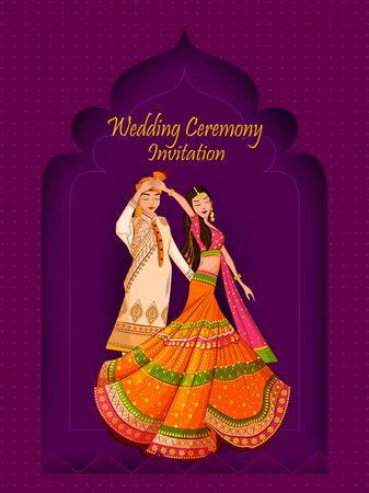 Indyjska panna młoda i pan młody w etnicznej sukni Lengha i Serwani na ślub. Ilustracja wektorowa