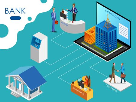 Isometric concept of Banking and Financial system with office interior, online bank process and transaction. Vector illustration
