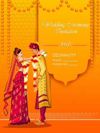 Indian Bride and Groom in ethnic dress Lengha and Serwani for wedding Day. Vector illustration Çizim