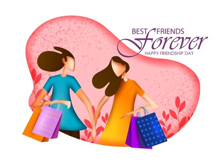 People celebrating Happy Friendship Day bonding of togetherness between friends .Vector illustration