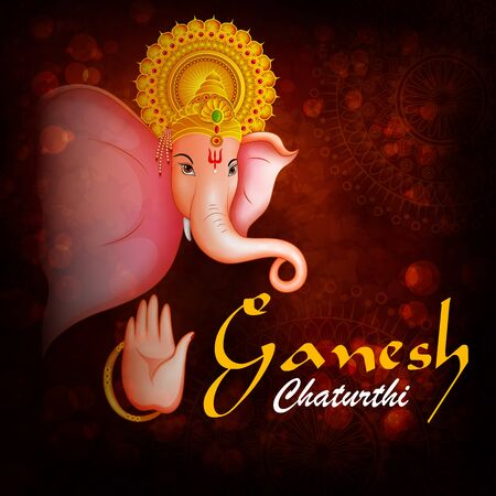 Happy Ganesh Chaturthi festival of India background with Lord Ganpati Archivio Fotografico - 131686661