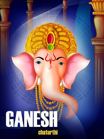 Happy Ganesh Chaturthi festival of India background with Lord Ganpati. Vector illustration Illustration
