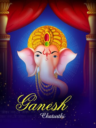 Happy Ganesh Chaturthi festival of India background with Lord Ganpati Illustration