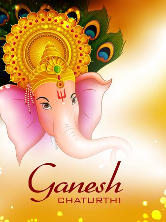 Happy Ganesh Chaturthi festival of India background with Lord Ganpati 矢量图像