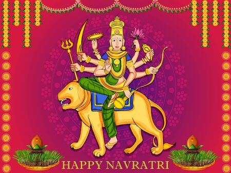 Goddess Durga for Happy Navratri Dussehra festival of India 일러스트