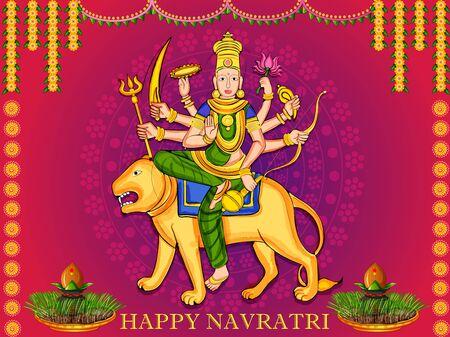 Goddess Durga for Happy Navratri Dussehra festival of India Illustration
