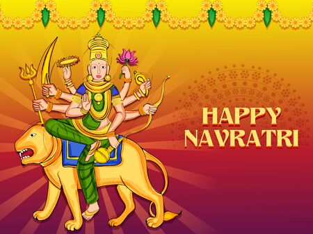 Goddess Durga for Happy Navratri Dussehra festival of India Vectores
