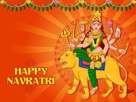 Goddess Durga for Happy Navratri Dussehra festival of India 일러스트