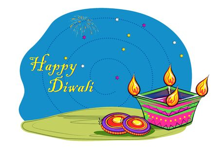 Happy Diwali traditional festival of India greeting background