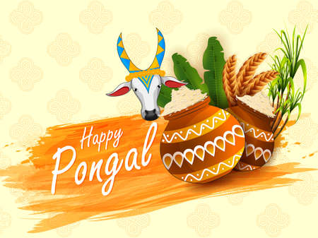 Happy Pongal religious festival of South India celebration background