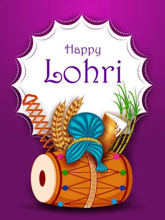 Holiday greetings background for celebrating harvest festival of Punjab India Lohri