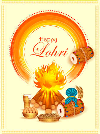 Holiday greetings background for celebrating harvest festival of Punjab India Lohri