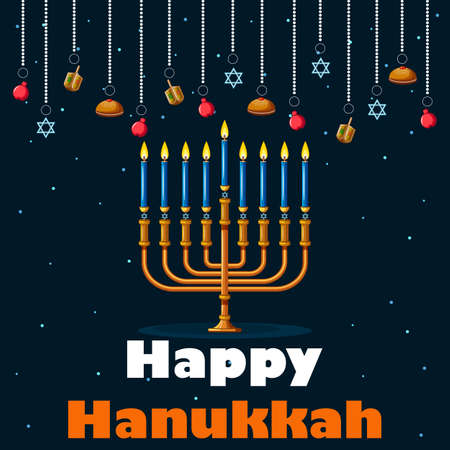Israel Holiday for Festival of Light Happy Hanukkah celebration background
