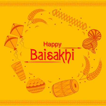 Punjabi New Year greeting background for Happy Baisakhi celebrated in Punjab, India