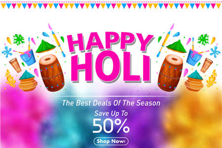 Happy Holi festival of colors background for holiday of India Illustration
