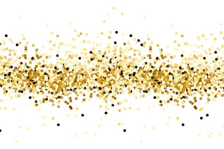 Gold sequins isolated on white background. Gold confetti decoration.