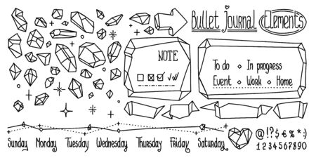 Bullet journal crystal doodles. Hand drawn gemstones for notebook, diary. Cute Doodle isolated on white.