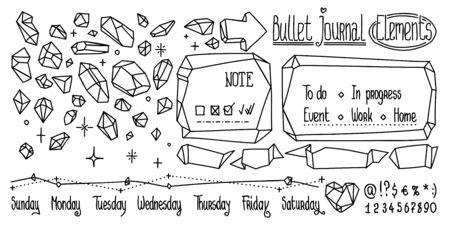 Bullet journal doodles en cristal. Pierres précieuses dessinées à la main pour ordinateur portable, journal. Doodle mignon isolé sur blanc.