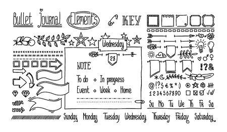 Elementi disegnati a mano di Bullet journal per taccuino, diario. Bandiere di Doodle disegnate a mano sveglie isolate su bianco. Numeri e giorni della settimana: domenica, lunedì, martedì, mercoledì, giovedì, venerdì, sabato.