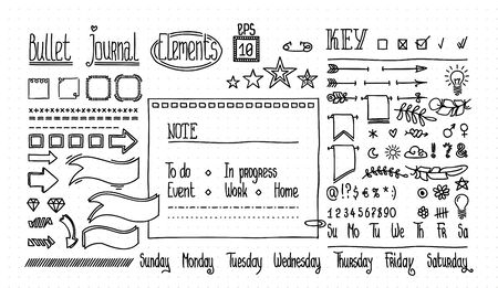 Bullet journal and diary elements set on dot texture. Cute Hand drawn Doodle Banners for notebook. Numbers and days of week: Sunday, Monday, Tuesday, Wednesday, Thursday, Friday, Saturday.