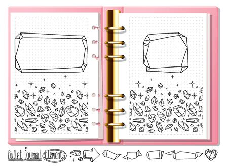 Bullet journal mock up crystal doodles. Hand drawn gemstones for notebook, diary. Doodles in open notebook.