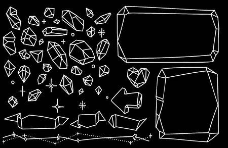 Crystal line doodles set. Hand drawn frames with gemstones for notebook, diary. Ilustração