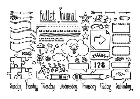 Bullet journal and diary elements isolated on white. Cute Hand drawn line doodles, speech bubble fnd banners. Hand drawn doodle set for notebook.
