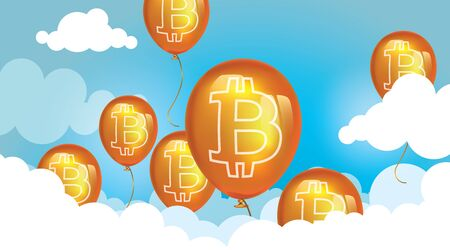 Bitcoin price up. Gold balloons with a sign Bitcoin rise above the clouds. Cryptocurrency vector illustration. Financial bubble.