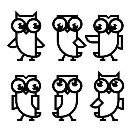 Owl line icon set. Cute dancing owls. Illustration