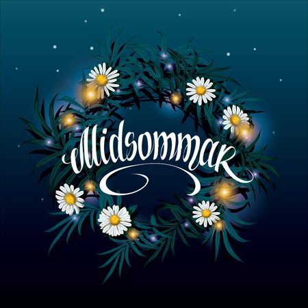 Midsummer lettering. Wreath on the water with reflection of the starry night sky vector illustration. Sveden Midsummer holiday background concept. Ilustração