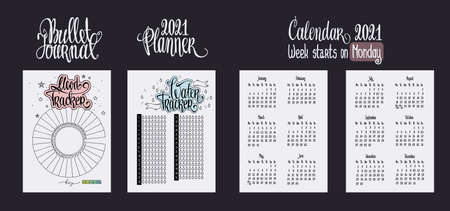Bullet journal template. Water tracker. Printable list. Mood tracker blank and lettering. 2021 calendar for diary vector illustrration. Hand written calendar in notebook. Week starts on Monday.