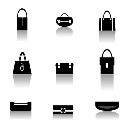leather goods:  Set of 9 vector handbags for woman isolated on white background, vector illustration  Illustration