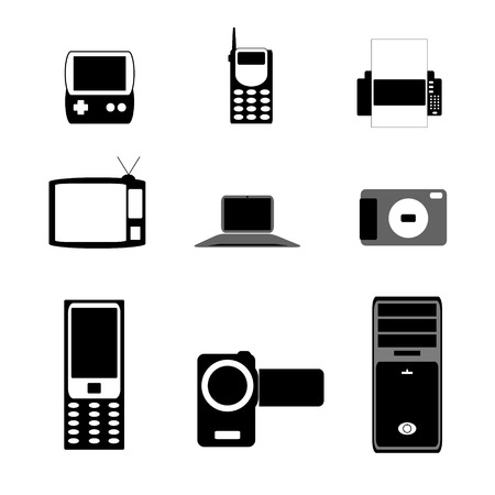 answering phone: Shapes of electronic items isolated on white Illustration